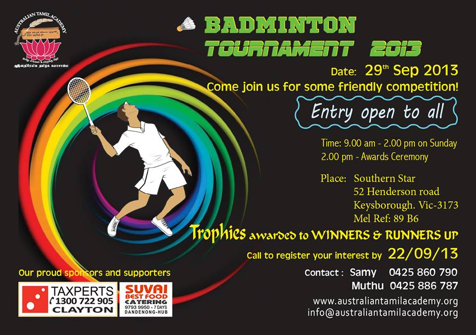 Inaugural Badminton Tournament (29 Sep 2013)
